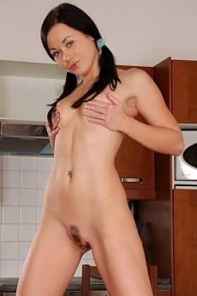 Innocent brunette shyly strips and dildos trimmed pussy
