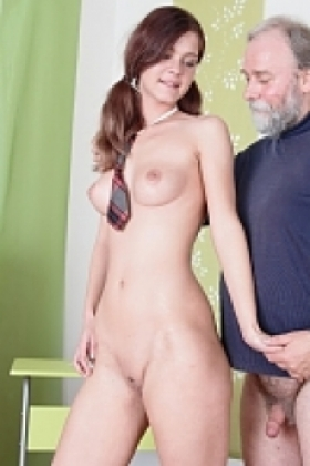 Nadya wants to have sex for a better grade, and lifts up her top for her teacher. He sucks and licks her young breasts and enjoys her sexy young body on this school day.